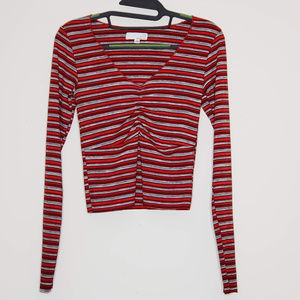 ten sixty sherman red and black ruched crop top